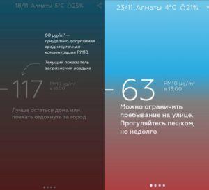 Скриншот приложения AUA. Источник: https://informburo.kz/novosti/naskolko-zagryaznyon-vozduh-almatincy-mogut-videt-v-svoyom-telefone-.html
