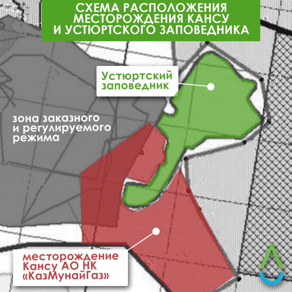 Схема: Устюртский заповедник и месторождение Кансу