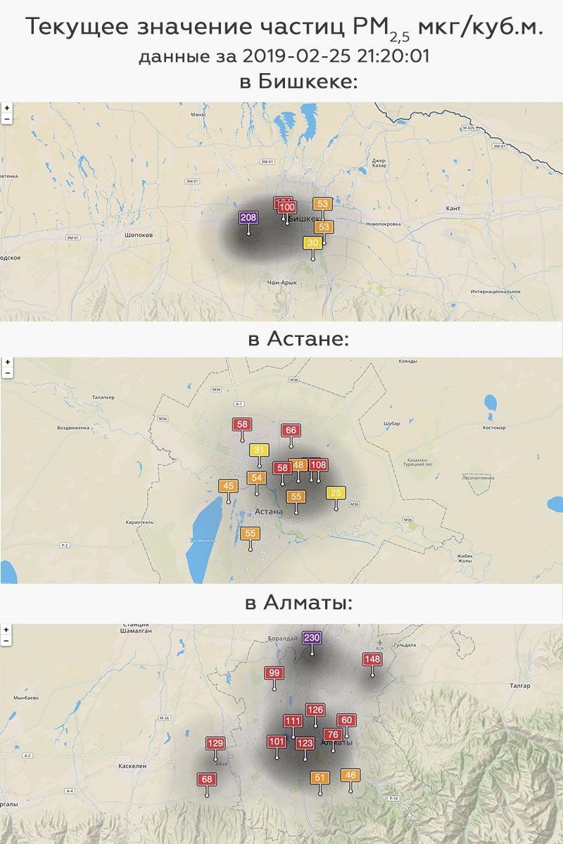 смог Алматы Казахстан загрязнение воздуха Бишкек