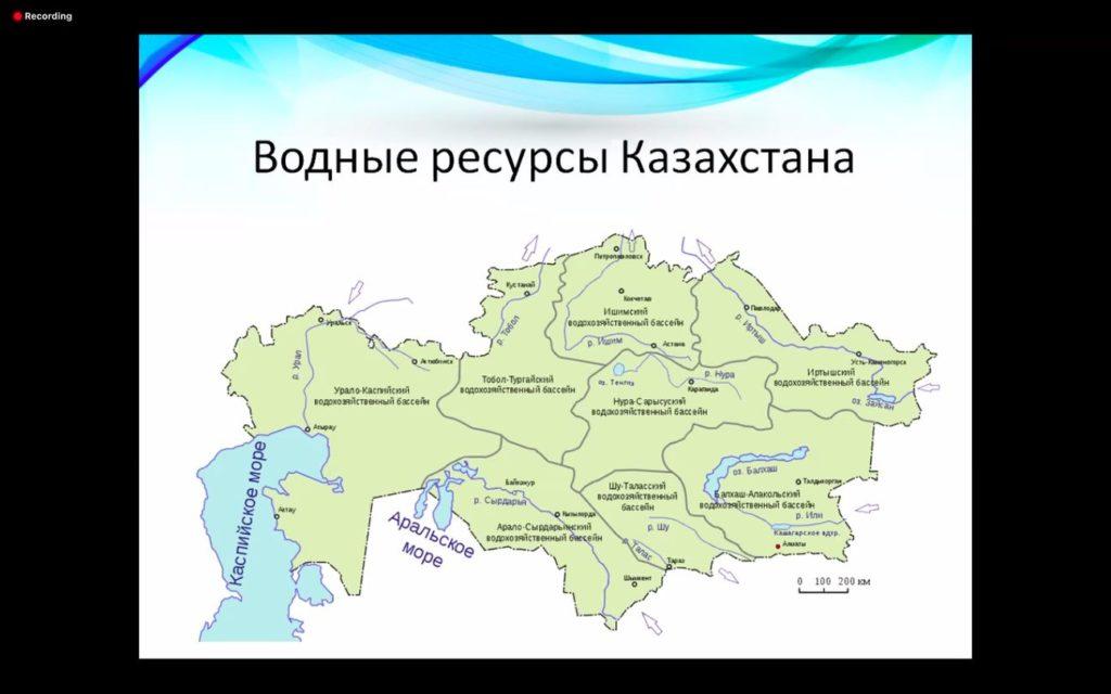 Водные ресурсы Казахстана, карта